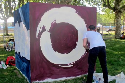 Chaque artiste invité s'inspire d'une ville étrangère. Jean-Baptiste Besançon, dit JBB, est influencé par l'expressionnisme abstrait et la ville de Mendoza, en Argentine (AP/Rue89 Bordeaux)
