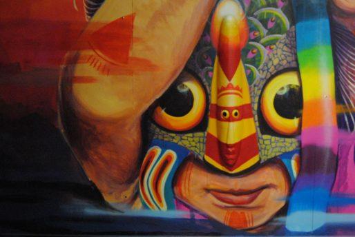 Détail de l'œuvre de Gleo, street-artiste colombienne invitée à Transfert 6 (WS/Rue89 Bordeaux)