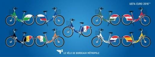 Des vélos en libre service V3 seront aux couleurs des équipes jouant à Bordeaux (DR)
