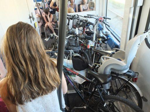 Le compartiment vélo bien garni sur ce TER Arcachon-Bordeaux (SB/Rue89 Bordeaux)
