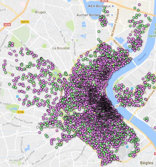 Carte bordelaise des offres Airbnb (Capture d'écran/Observatoire Airbnb)