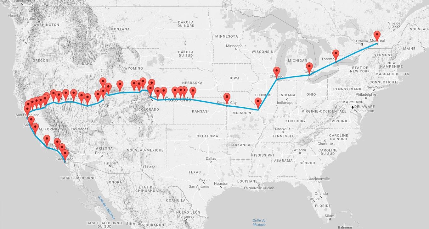 6200 km de San Diego à Montréal (capture écran)