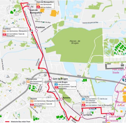 Bus de substitution sur l'extension de la ligne C (TBM)