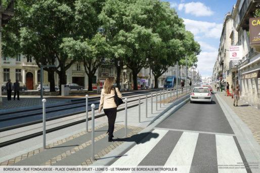 Le tram rue Fondaudège (©Bordeaux Métropole)
