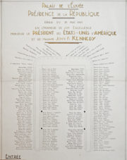 Le plan de table du dîner en l'honneur du président des Etats-Unis, le 31 mai 1961 (DR)