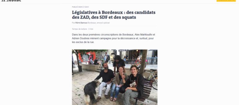 Législatives à Bordeaux : le succès (d'abord médiatique) des candidats des SDF et des Zad