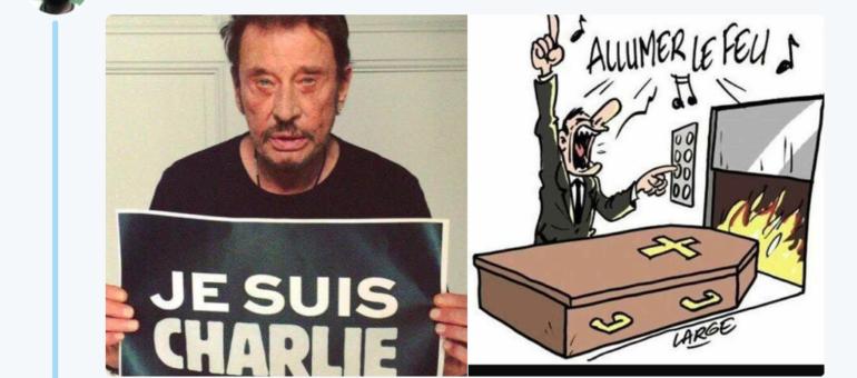 Le Bordelais Marc Large dément avoir fait cette caricature après la mort de Johnny Hallyday
