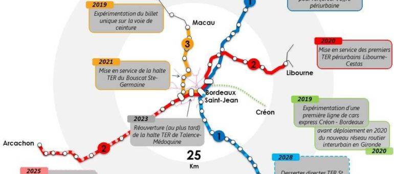 Voici le plan du futur RER métropolitain de Bordeaux