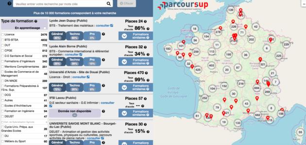 Parcoursup : une carte interactive des formations pour orienter les lycéens