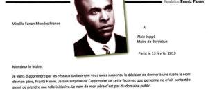 Mireille Fanon-Mendès-France refuse que le nom de son père Frantz Fanon «soit associé à l'histoire coloniale de Bordeaux»