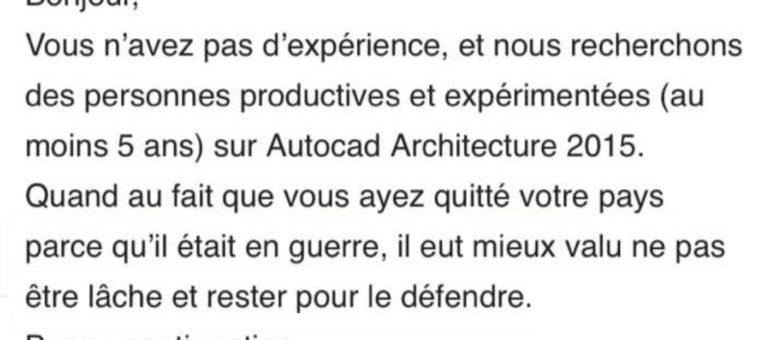 L'incroyable réponse à un réfugié postulant dans une agence d'architecture bordelaise