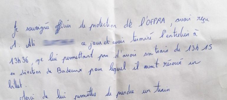 Un demandeur d'asile trompé par une «attestation» de l'Ofpra et verbalisé dans le TGV