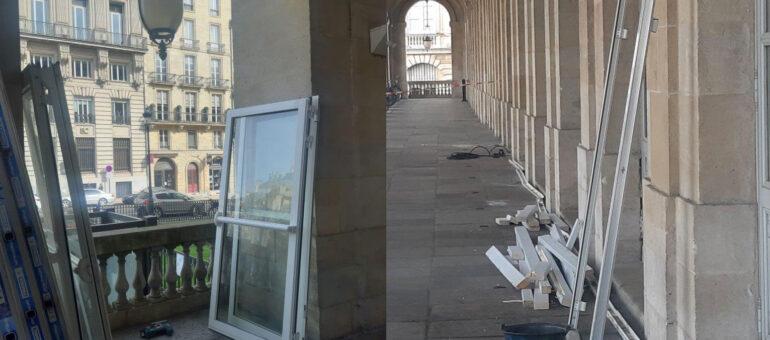 Philippe Etchebest démonte les menuiseries de sa terrasse au Grand Théâtre